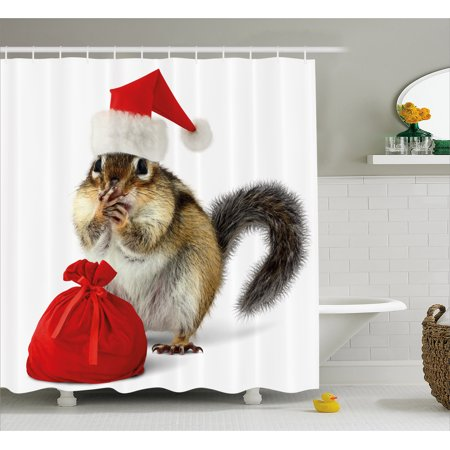 Christmas Shower Curtain, Chipmunk in Red Santa Claus Hat and Bag with Surprise Xmas Presents, Fabric Bathroom Set with Hooks, Pale Yellow White Red, by Ambesonne - Present Bag