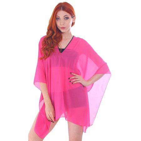 - Women's Sheer Chiffon Caftan Wrap Poncho Tunic Top, Rose