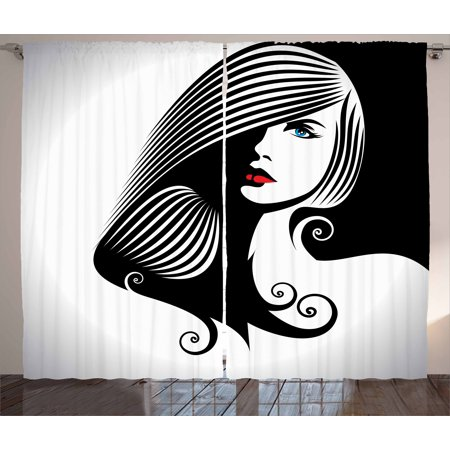 Contemporary Curtains Drapes (Contemporary Curtains 2 Panels Set, Abstract and Artistic Woman Silhouette Cosmetics Glamor Hairstyle Femininity, Window Drapes for Living Room Bedroom, 108W X 108L Inches, Multicolor, by Ambesonne )