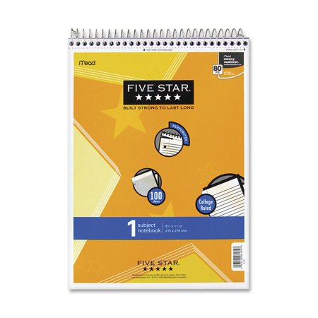 Five Star Topbound Notepad, 1 Subject, College Ruled, 11