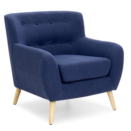 Best Choice Products Mid-Century Modern Linen Upholstered Button Tufted Accent Chair for Living Room, Bedroom - Dark Blue
