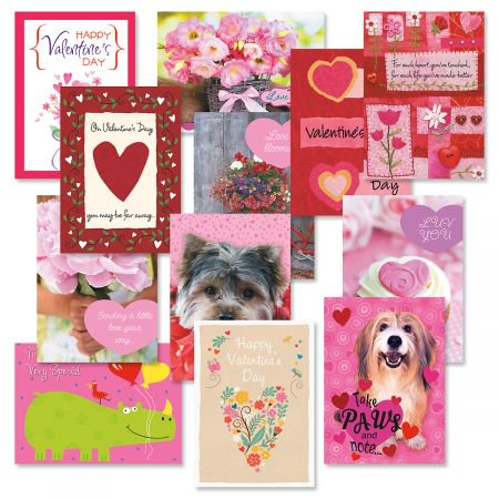 Valentine's Day Greeting Cards - Set of 12 ( 1 of each design) (Valentine Exchange Cards)