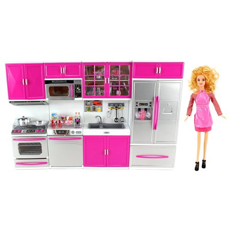 My Modern Kitchen Full Deluxe Kit Battery Operated Toy Doll Kitchen Playset w/ Toy Doll, Lights, Sounds, Perfect for Use with 11-12