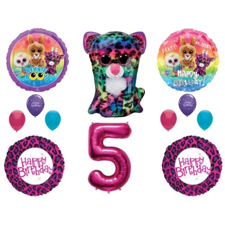 Beanie Boos 5th Birthday Party Balloons Decoration TY Cheetah Animals - Party Ty