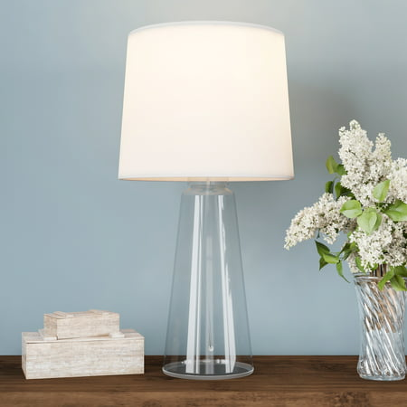 Clear Glass Lamp-Open Base Table Light with LED Bulb and Shade-Modern Decorative Lighting for Coastal, Nautical, Rustic Cottage Styles by Lavish Home ()