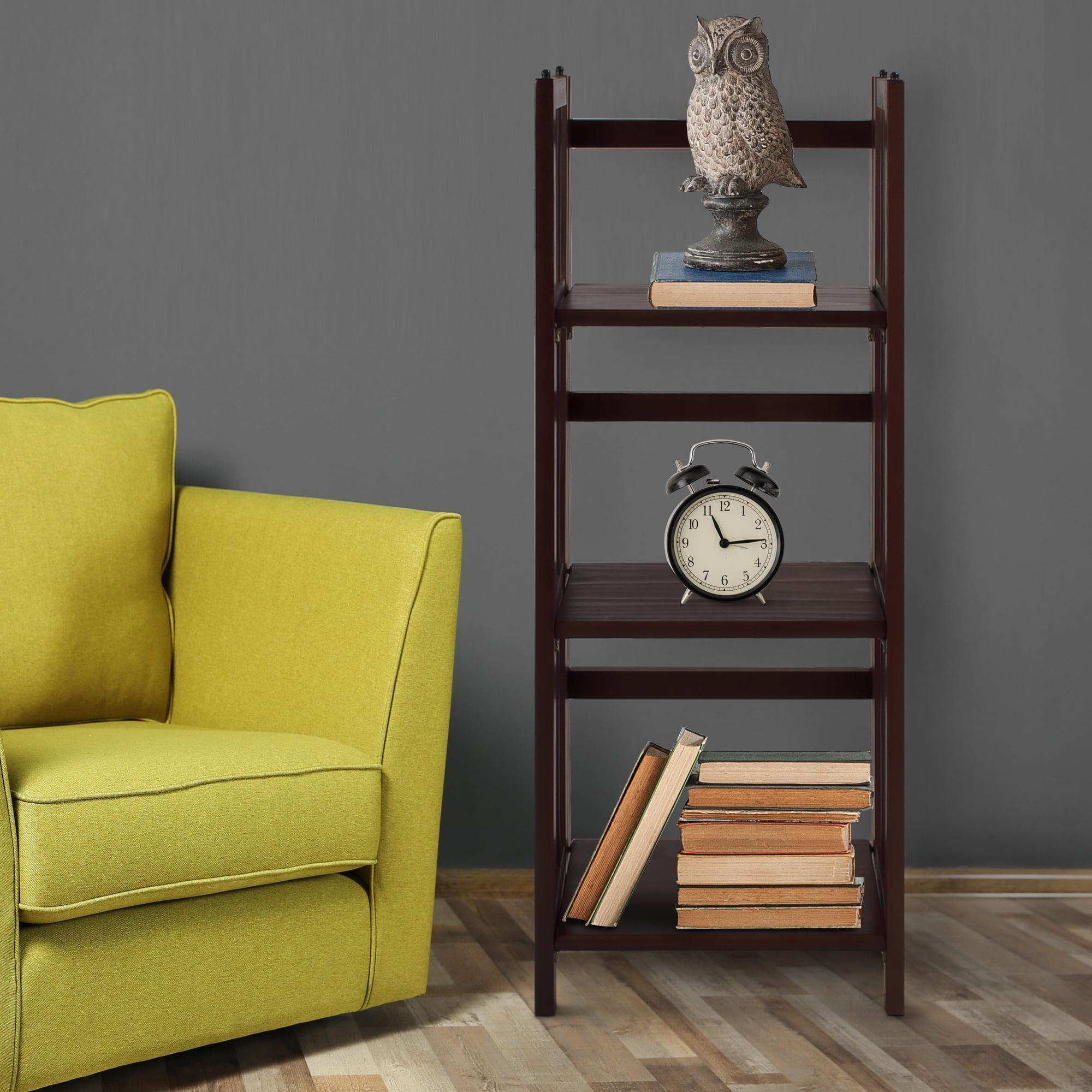 "3-Shelf Folding Bookcase 14"" Wide-Walnut"
