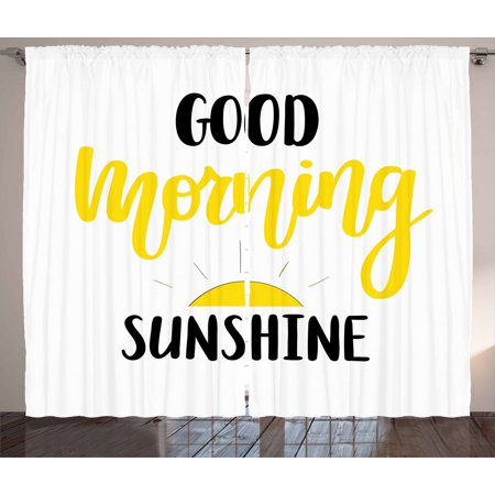 Motivational Curtains 2 Panels Set, Good Morning Sunshine Hand-Drawn Calligraphy with Sunrise Sketch, Window Drapes for Living Room Bedroom, 108W X 84L Inches, Black Yellow and White, by Ambesonne ()