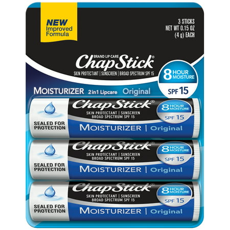 (2 Pack) ChapStick Lip Moisturizer (Original Flavor, 0.15 Ounce) and Skin Protectant Lip Balm Tube, Sunscreen, SPF 15 (1 Blister Pack of 3 (Limited Edition Flavored Lip Balm)