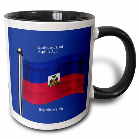 3dRose The flag of Haiti waving with The Republic of Haiti printed in English, French and Haitian Creole. - Two Tone Black Mug, 11-ounce