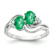 Primal Gold 14 Karat White Gold 6x4mm Oval Emerald and Diamond Ring
