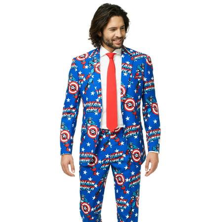 OppoSuits Men's Captain America Licensed Suit (Ironman Captain America Suit)