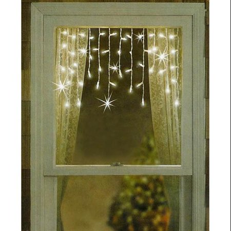 Set Of 50 Clear Twinkle Window Curtain Christmas Icicle
