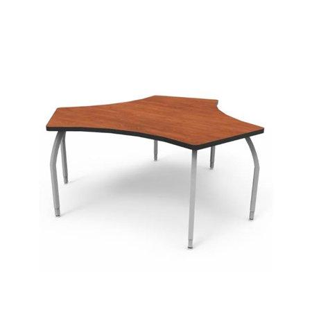 Wisconsin Bench ELO6318-ADJSS-AA-AA Elo Diamond Desk, Wild Cherry Laminate & Banding with 3 Adjustable Smooth Silver Legs - 26-31 x 34 x 30