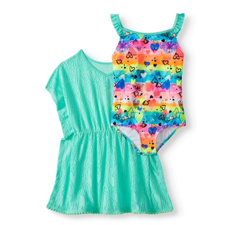 Girls' Emoji Ruffled One-Piece Swimsuit and Kaftan Coverup, 2-Piece Set (Cover Girl Sonnenbrillen)