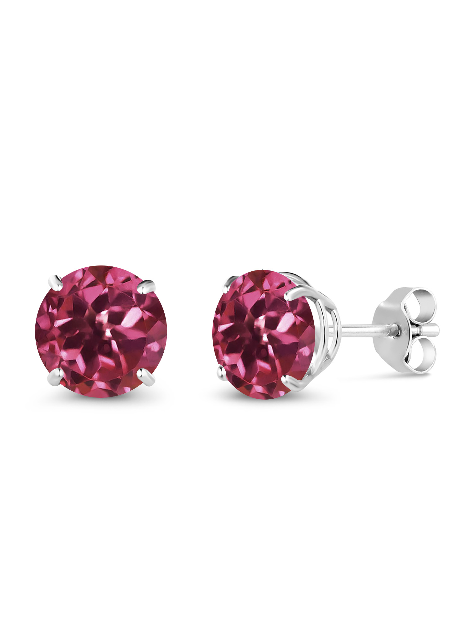1.00 Ct Round 5mm Pink Tourmaline 18K White Gold Stud Earrings by