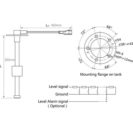 Kus 300mm Boat Marine Water Level, Kus Fuel Gauge Wiring Diagram