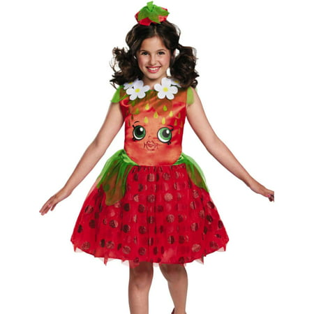 Girls Shopkins Strawberry Kiss Halloween Costume Dress & Headband