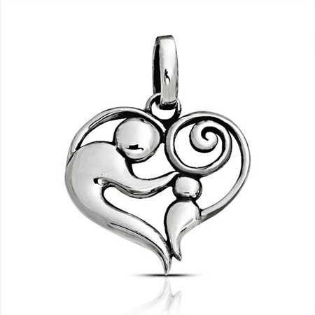 Bling Jewelry Swirl Mother and Child Heart Sterling Silver Pendant