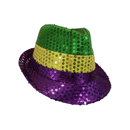 Mardi Gras Sequin Jazz Fedora Top Hat Glitter Dancer Adult Costume Accessory](Mardi Gras Costumes Child)