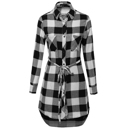- FashionOutfit Women's Super Cute Flannel Plaid Checker Shirts Dress with Belt
