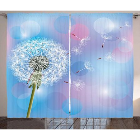 Dandelion Curtains 2 Panels Set, Bokeh Background Flower with Wind Blowing Seeds Gardening Plants, Window Drapes for Living Room Bedroom, 108W X 63L Inches, Sky Blue Pale Pink Green, by - Windy Background
