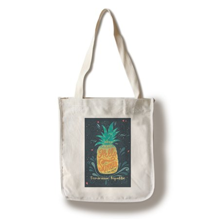 Dominican Republic - Hello Summer - Pineapple - Lantern Press Artwork (100% Cotton Tote Bag - Reusable) (Handbag Republic)