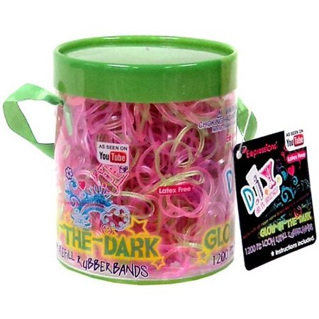 Loom Band Halloween Bracelets (expressions d.i.y. 1200 pink & green glow-in-the-dark latex-free rubber band bracelet refill loom)
