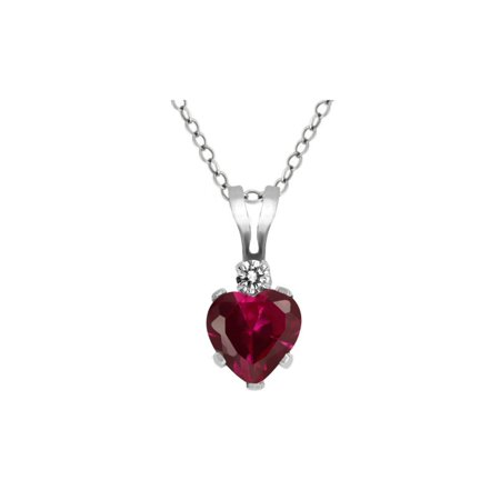 0.63 Ct Heart Shape Red Created Ruby White Diamond 925 Sterling Silver Pendant - image 1 de 1