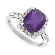 14k White Gold Amethyst Purple Diamond Polished Amethyst and .07 Dwt Diamond Ring -- Size 6.5