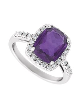 14k White Gold Amethyst Purple Diamond Polished Amethyst and .07 Dwt Diamond Ring -- Size 6.5