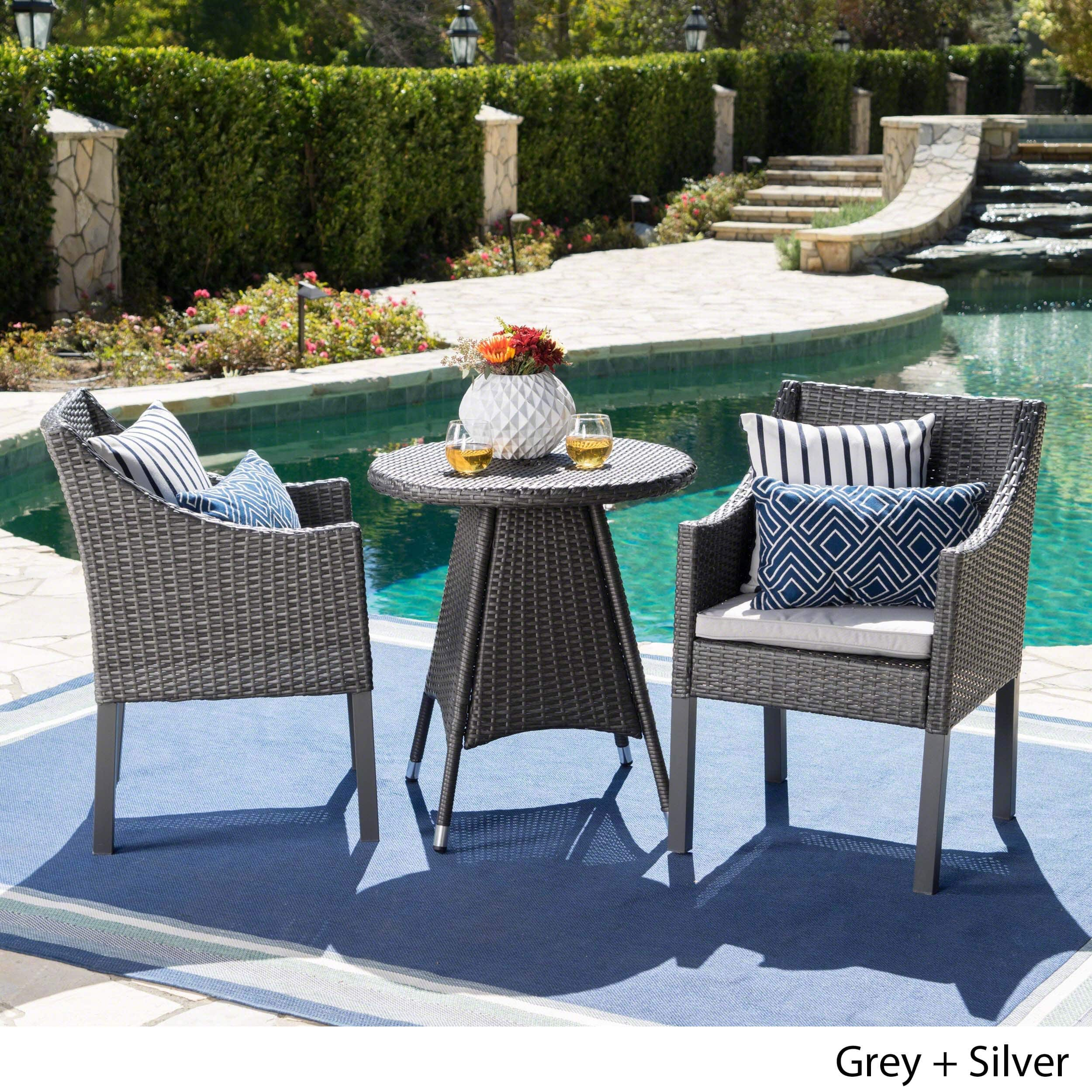 Christopher Knight Home Franco Outdoor 3-Piece Round Wicker Bistro Chat Set with Umbrella Hole & Cushions by