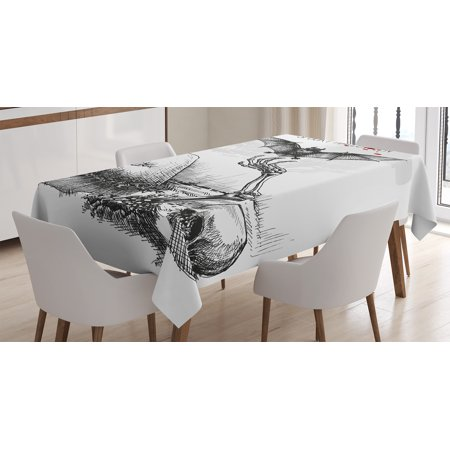 Black And White Halloween Table Decorations' (Halloween Decorations Tablecloth, Dead Skull Zombie Out Grave and Flying Bat Hand Drawn Spooky Picture, Rectangular Table Cover for Dining Room Kitchen, 52 X 70 Inches, Black White, by)
