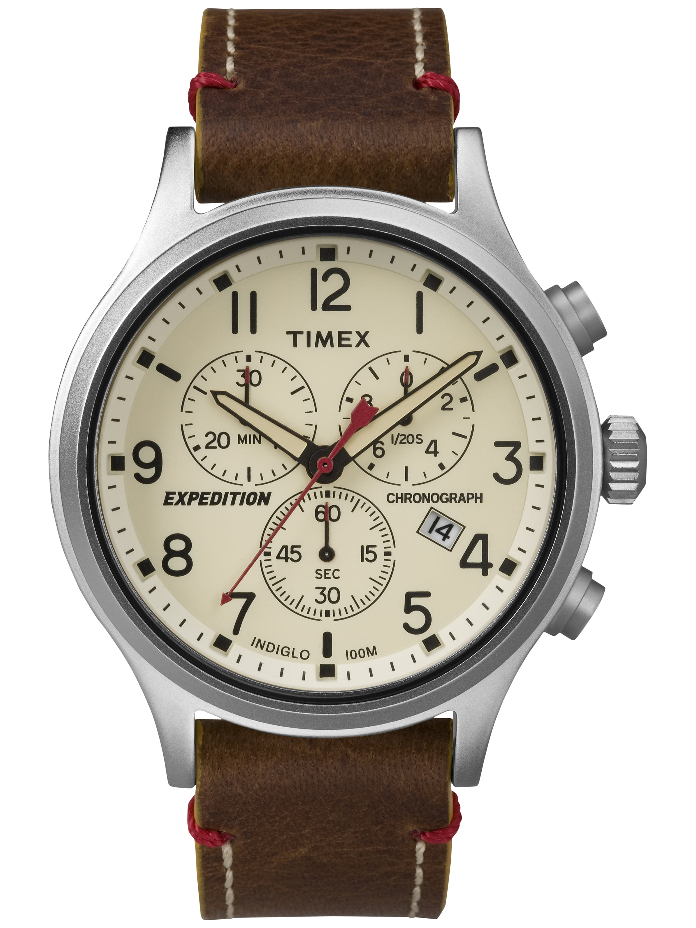 Timex Men's Expedition Scout Chrono Watch, Brown Leather Slip-Thru Strap by Timex