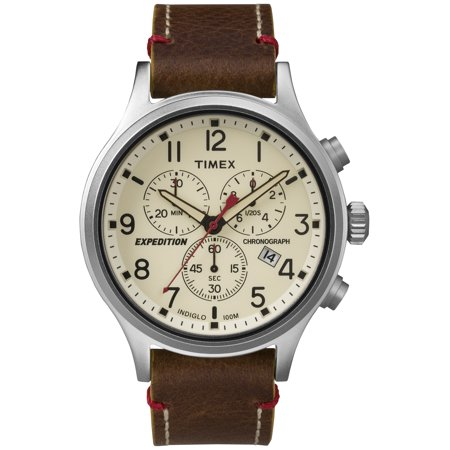 Men's Expedition Scout Chrono Watch, Brown Leather Slip-Thru Strap