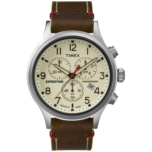 Timex Men's Expedition Scout Chronograph Brown/Natural Leather Slip-Thru Strap Watch