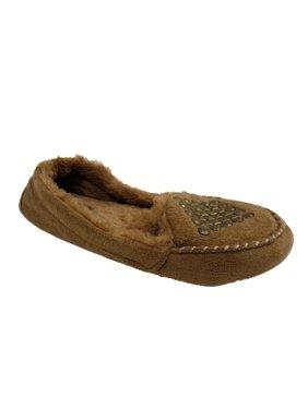 Cejon Womens Tan Studded Moccasin Slippers