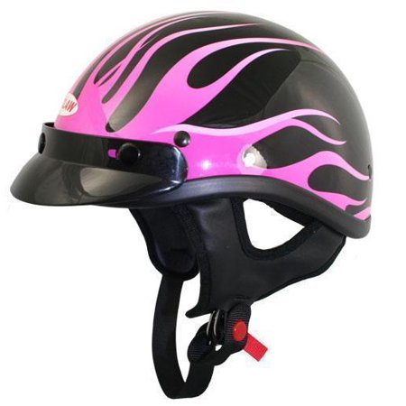 Outlaw Helmets Outlaw T70 DOT Black Pink Flames Half Helmet With Visor Pink X-Small