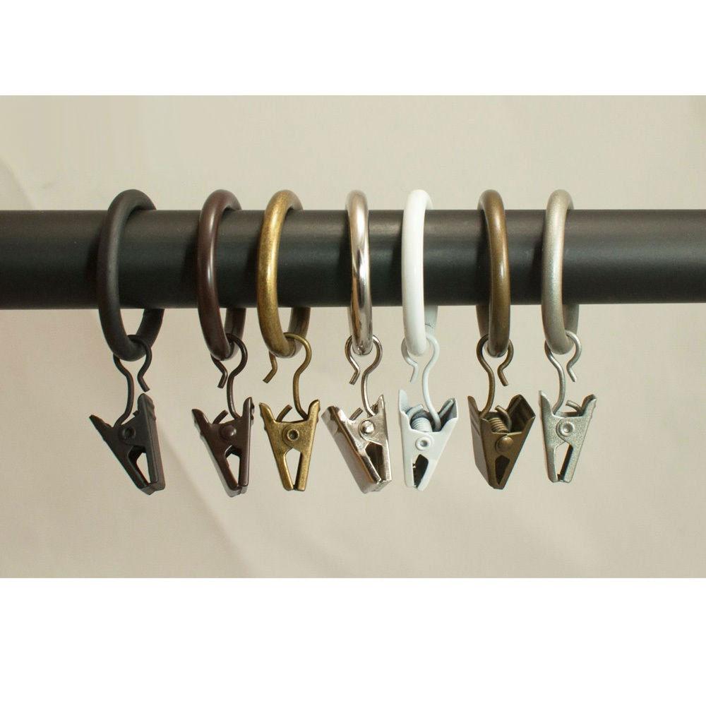 "40x Metal Curtain Drapery Hooks Clip Rings 1"" Inner"