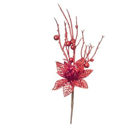 Collection Poinsettia - Darice Red Glitter Poinsettia Pick 2.75 to 4 X 13.8 Inches