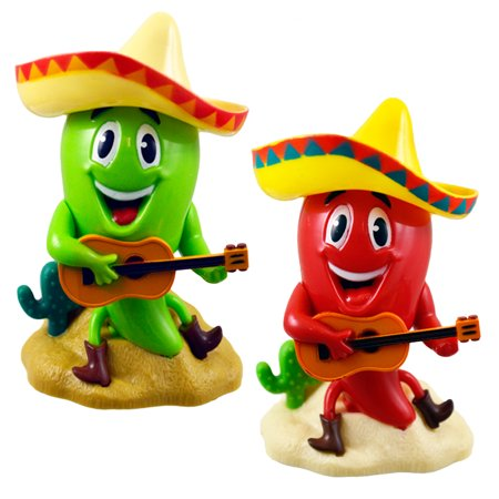 Solar Figures Plastic Chili Pack of 2 Green+ Red 4 inches](Solar Dancing Figures)