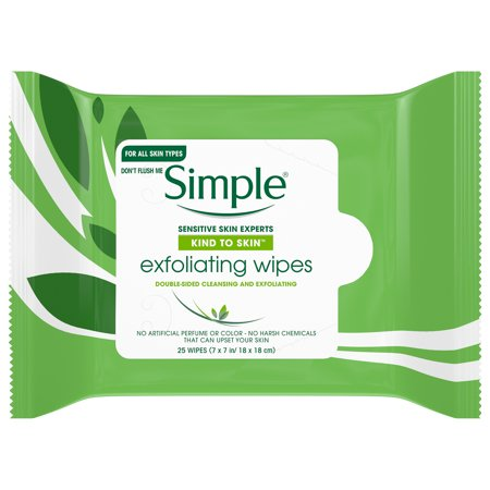 Simple Kind to Skin Kind to Skin Exfoliating Facial Wipes, 25 ct ()