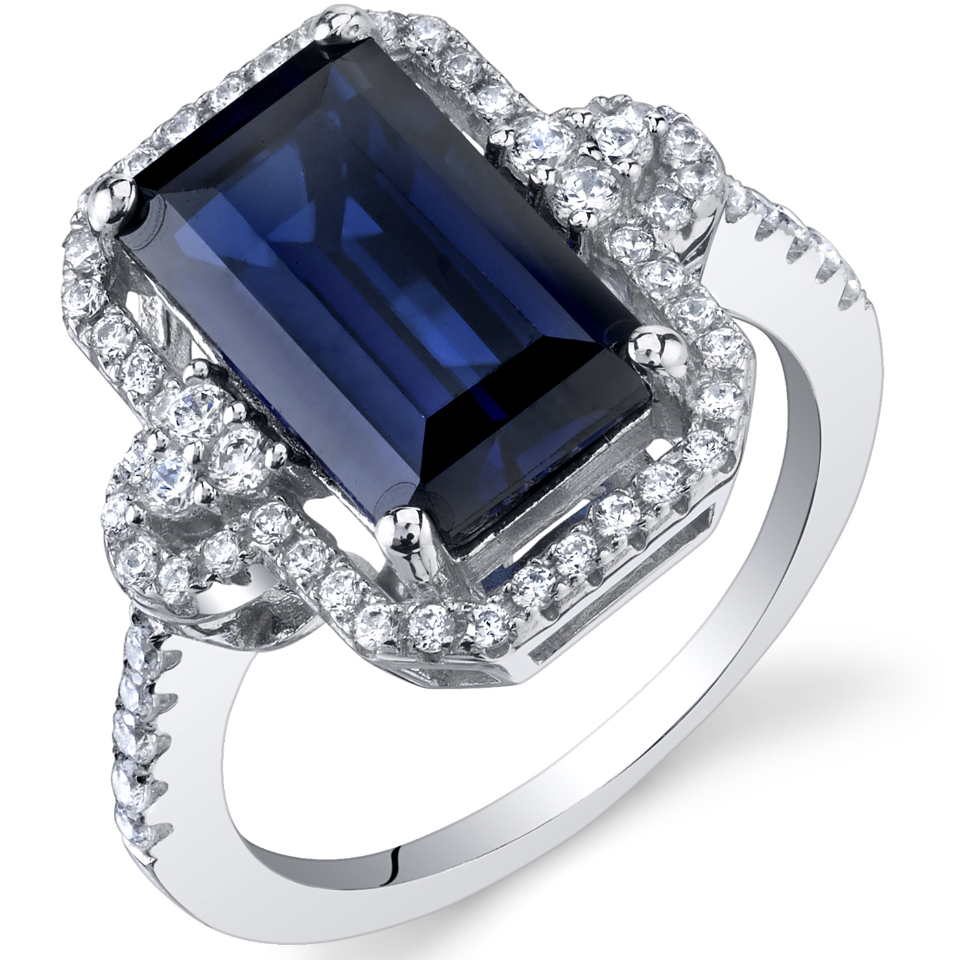 Peora 4.50 Ct Created Blue Sapphire Engagement Ring in Rhodium-Plated Sterling Silver