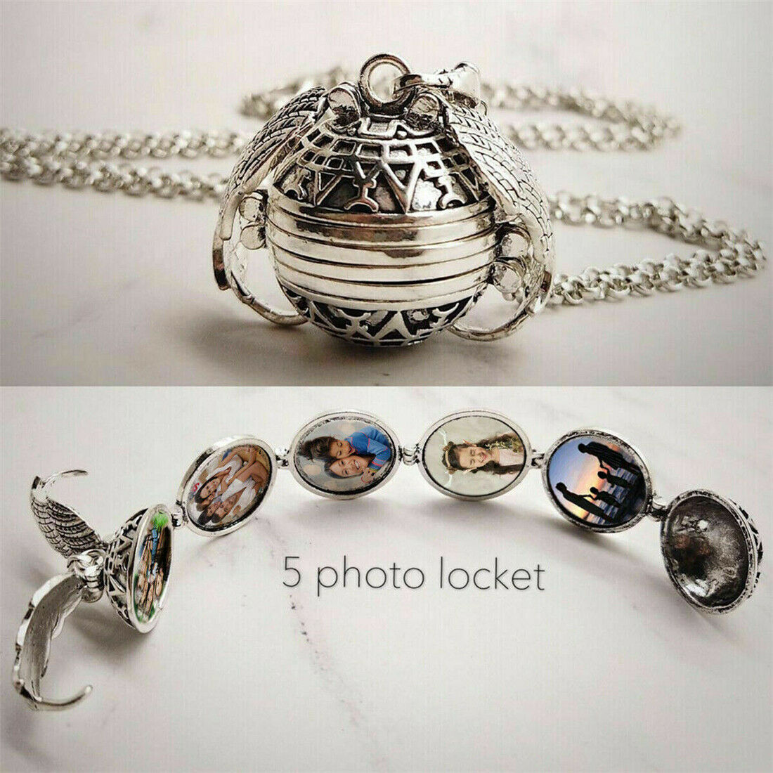 Expanding Photo Locket Necklace Silver Ball Angel Wing Pendant Memorial Gifts IU
