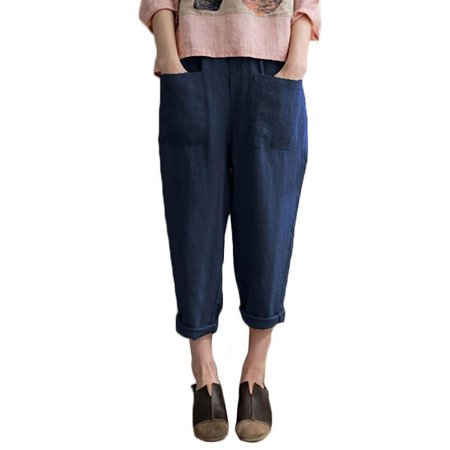 UKAP Womens Cotton Linen Elastic Waist Pants Casual Loose Trouser Cropped Plus Size with Pocket