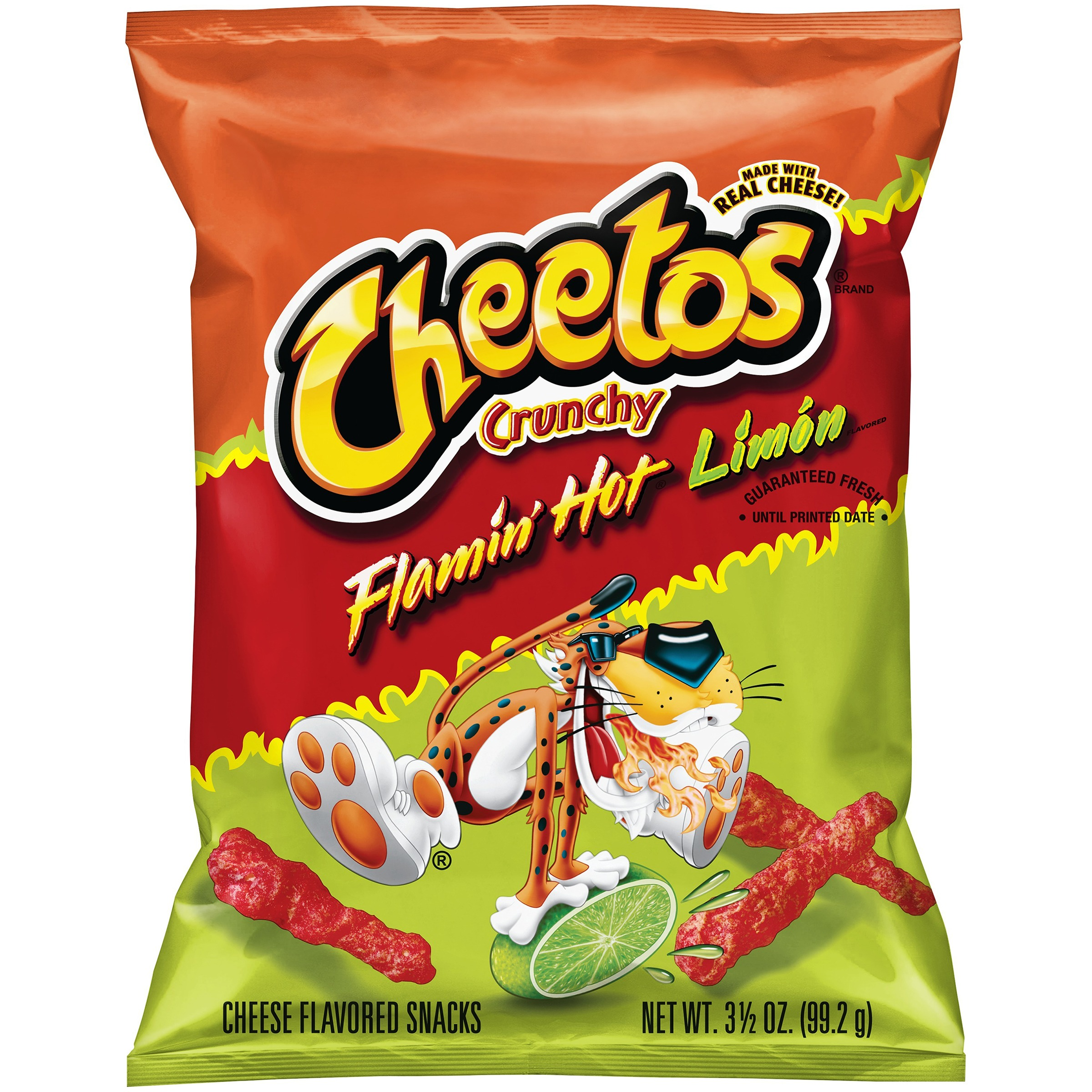 Cheetos Crunchy Flamin' Hot Limn Cheese Flavored Snacks 3.5 oz. Bag