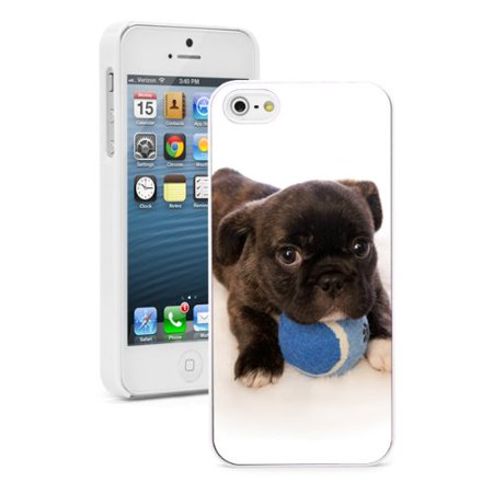 For Apple iPhone SE Hard Back Case Cover Cute Pit Bull Puppy With Blue Tennis Ball (White)