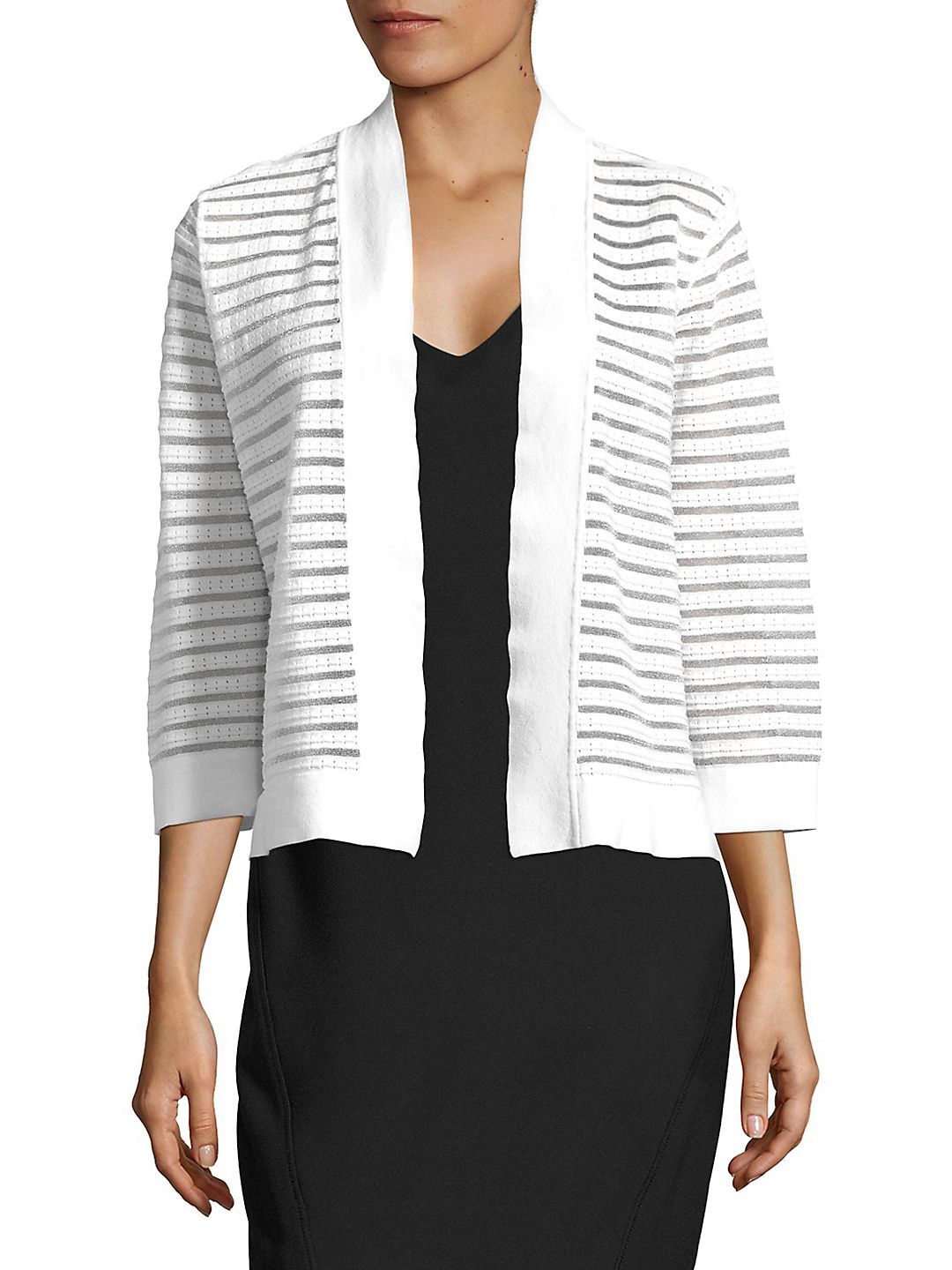 Striped Quarter-Sleeve Cardigan