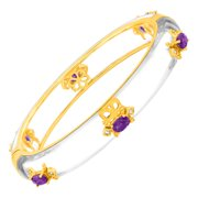 Fleur De Lis Bangle Bracelet with Natural Amethysts in 18kt Gold-Plated Brass