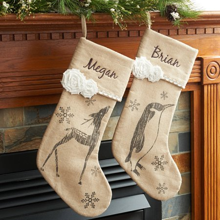 Personalized Vintage Linen Snowflake Christmas Stocking](Pet Christmas Stockings)