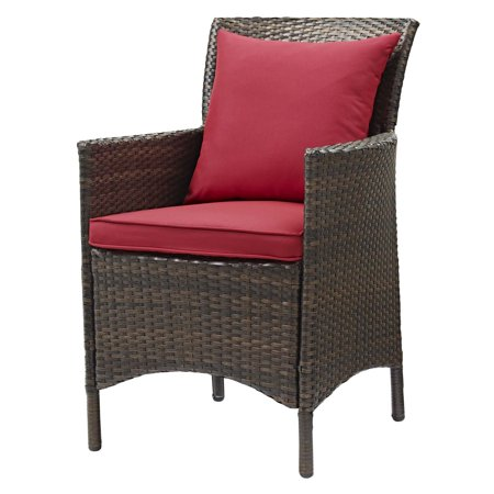 Modern Contemporary Urban Design Outdoor Patio Balcony Garden Furniture Side Dining Chair Armchair, Rattan Wicker, Red Brown ()